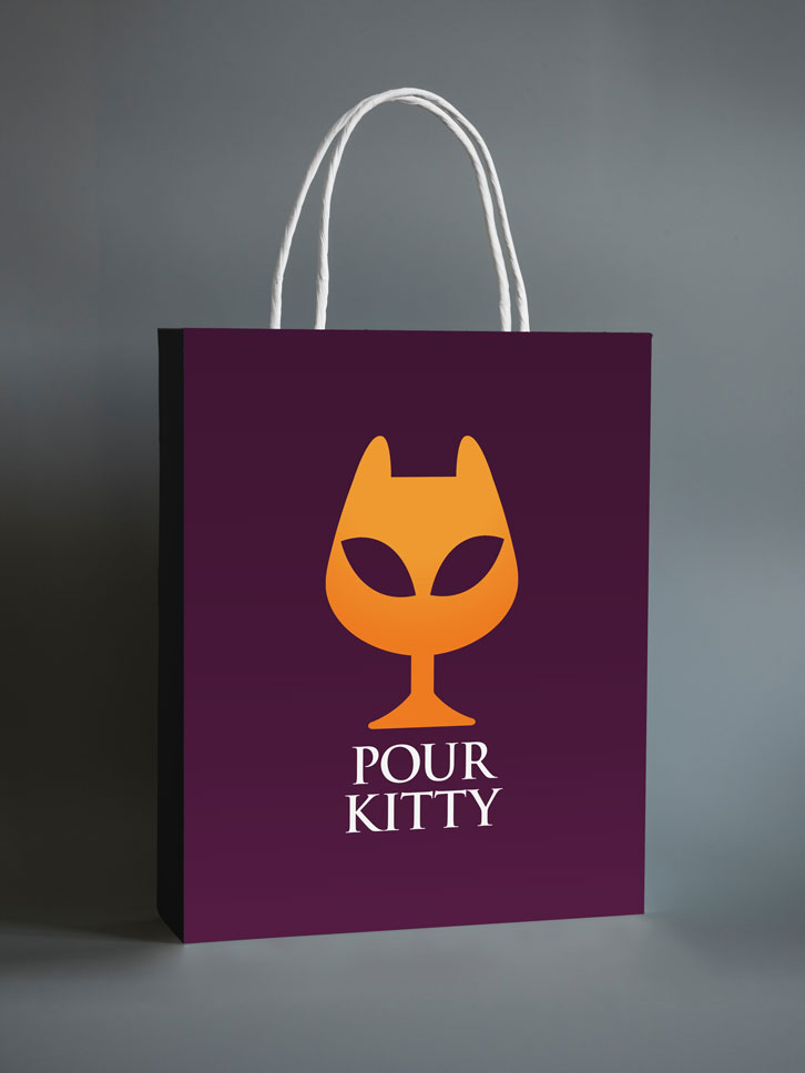 Pour Kitty bag mockup with logo